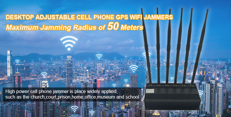 High Power GSM 3G 4G GPS WiFi Jammer Desktop Adjustable
