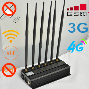 Black GPS WiFi Signal Blocker Unadjustable UHF/VHF Mobile Phone Jammer