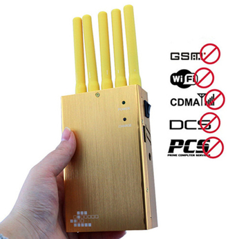Military jammer systems - Portable Golden GPS Jammer for Wholesale,include WIFI,Cell Phone Jamming