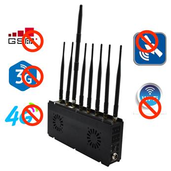 External 2 Fans 8 Bands Desktop Jammer 2G/3G/4G Cell Phone Signal GPS WiFi Lojack
