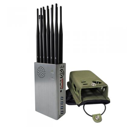 Portable Mobile Phone Signal Jammer 12 Antennas Plus Bigger Hot Sink & Battery